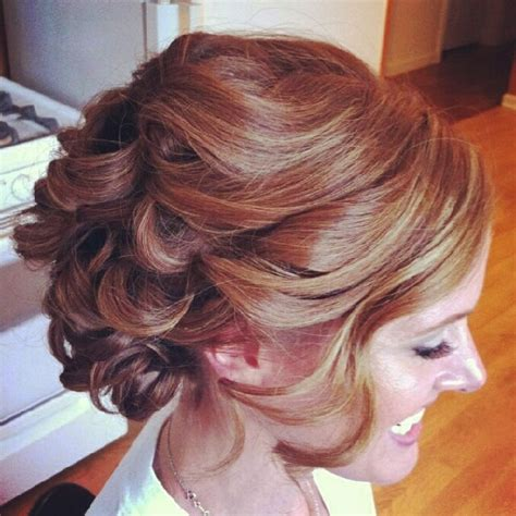 Updo Hairstyles For Curly Medium Length Hair by Soft Curly Prom Updo Hairstyle Danielas Wedding