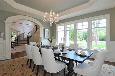 traditional dining room with sage green paint color