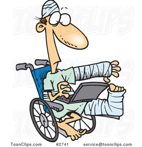 Cartoon Injured Guy Using a Laptop in a Wheelchair #2741 ...