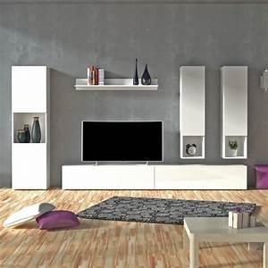 Meuble Tv Mural Blanc : quest meuble tv mural contemporain laqu blanc brillant ~ Dailycaller-alerts.com Idées de Décoration