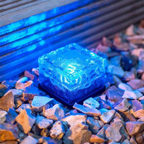 small solar garden path light glass brick 1 blue led