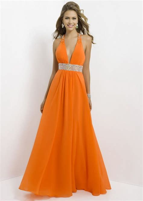 Deep V-Neck Orange Waist Open-Back Chiffon Long Dress 2015 ...