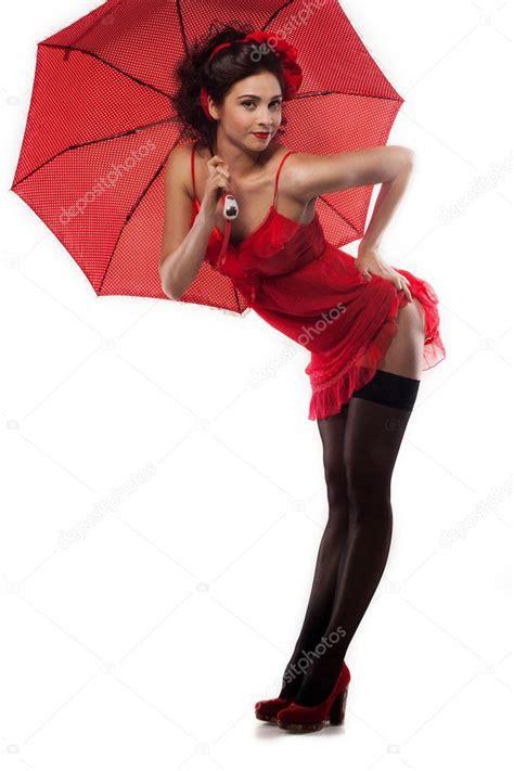 Pin up girl with umbrella Beautiful girl pin up style