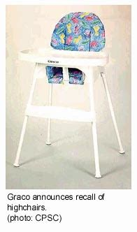 graco high chair recall list children s products recalled feb 21 2001