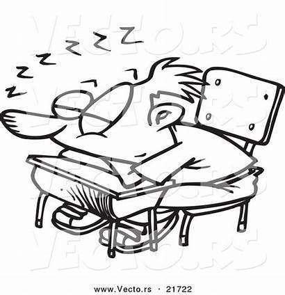 Sleeping Cartoon Desk Student Sleepy Coloring Boy