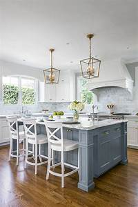 white kitchen cabinets and grey island design ideas With best brand of paint for kitchen cabinets with wall art for less
