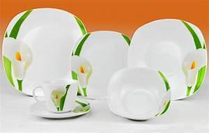 Porzellan Geschirr Hersteller : kombiservice calla 62 teilig eckig porzellan f r 6 ~ Michelbontemps.com Haus und Dekorationen