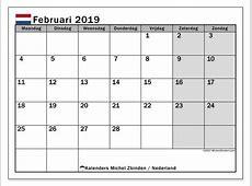 Kalender februari 2019, Nederland Michel Zbinden nl