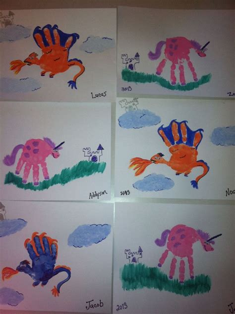 pin  jen gatliff  kids dragon crafts handprint art