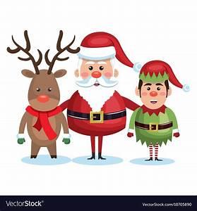 Santa Claus Reindeer And Elf Christmas Royalty Free Vector