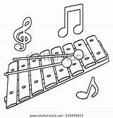 Glockenspiel Template Xylophone Coloring sketch template