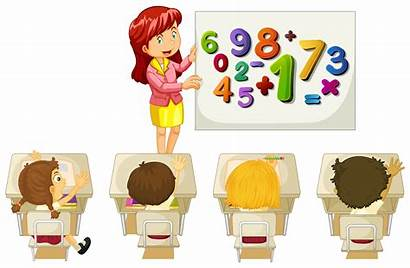 Math Learning Classroom Students Illustration Clipart Vector