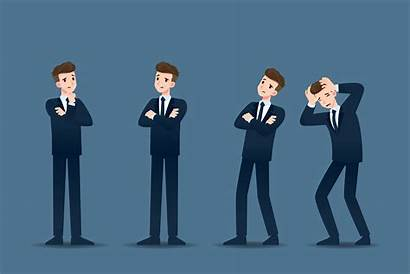 Businessman Thinking Business Vector Character Different Concern