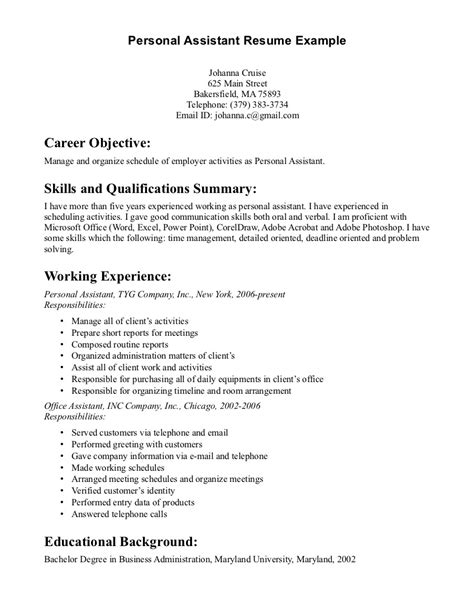 Exle Of Personal Skills On A Resume by Best Photos Of Personal Cv Exles Personal Assistant Resume Exles Personal Assistant
