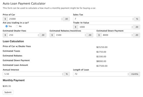 car payment calculator form template formidable forms