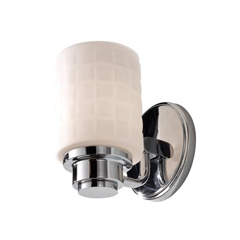 bathroom wall light in chrome with mosaic pattern opal