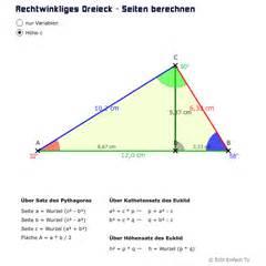 dreieck fläche berechnen tri03 rechtwinklige dreiecke satz des pythagoras matheretter