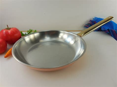spring culinox switzerland copper brass stainless cookware  fry pan skillet tube handle