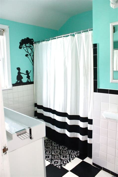 teal and black white curtains spaces for the home