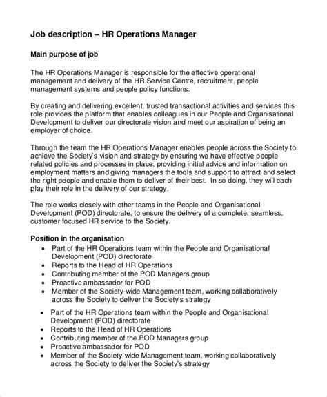 operations manager description best resumes