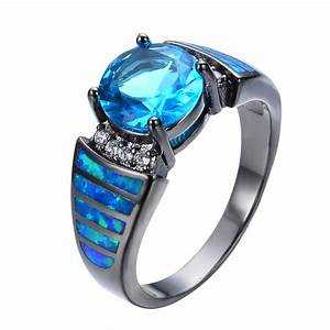 Vintage Aquamarine Sapphire Jewelry Blue Fire Opal Ring ...