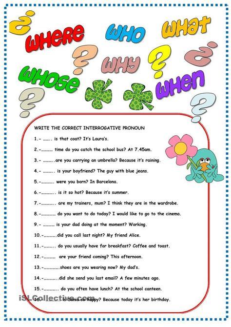 interrogative pronouns pronoun worksheets interrogative