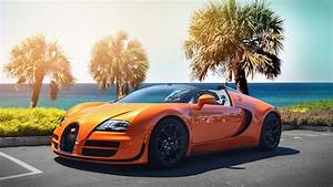 Wallpaper Bugatti veyron hypercar, orange color 1920x1200