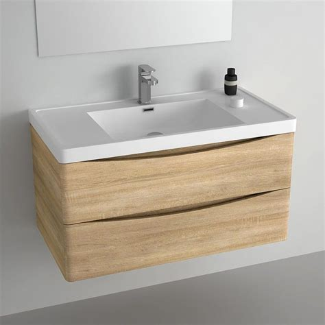meuble salle de bain 90 cm ch 234 ne 2 tiroirs plan composite nature