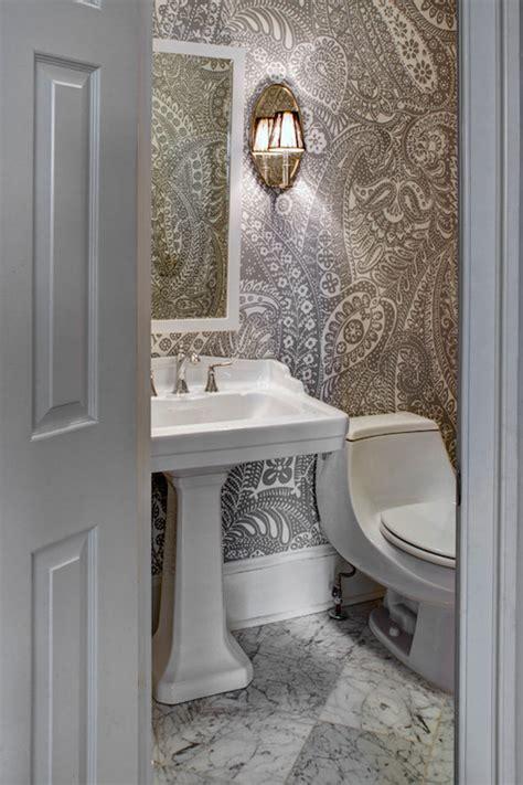 paisley wallpaper transitional bathroom case design