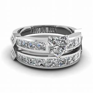 Heart shaped diamond channel set princess accent wedding for 18k gold wedding ring set