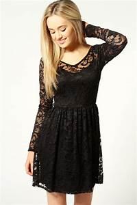 Boohoo Lucy V-Neck Long Sleeve Lace Skater Dress   eBay