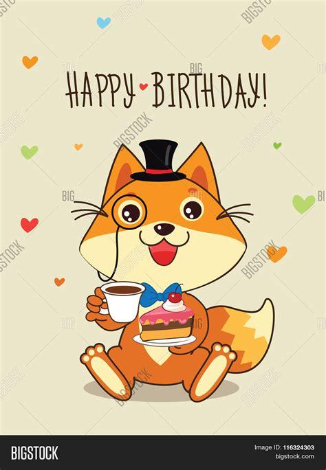happy birthday card funny fox vector photo bigstock