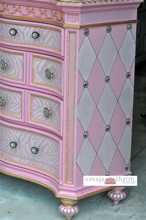Black Nightstand With Drawers by Hand Painted Princess Furniture Vintage Charm Restored