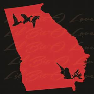 State of Georgia Silhouette with Duck Hunter and Ducks