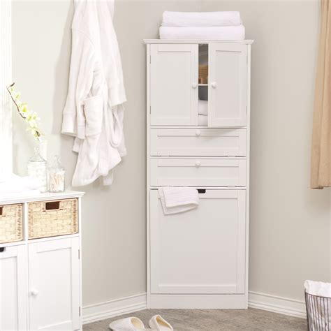 tall white corner bathroom storage cabinet with doors and