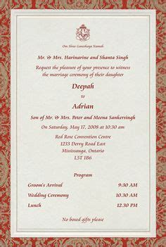 indian wedding invitation wording template puneet