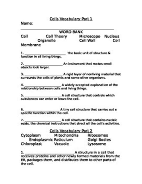 cell vocabulary fill in the blank extension worksheet