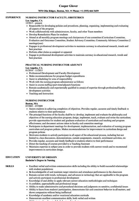 nursing instructor resume sles velvet