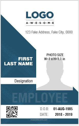 professional design vertical id card templates