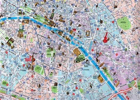detailed tourist map  central part  paris city