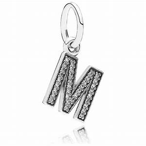 pandora letter m pendant charm 791325cz pandora from With pandora necklace letter charms
