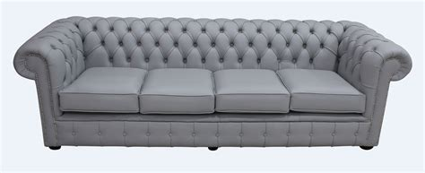 Grey Leather Settee by Chesterfield 4 Seater Settee Silver Grey Leather Sofa Offer