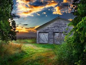 An, Old, Barn, At, Sunset, Desktop Wallpapers, Hd Free ...
