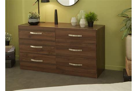 commode en bois de commode 6 tiroirs en bois noyer pour chambre adulte