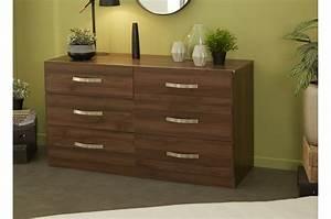 Commode En Bois : commode 6 tiroirs en bois noyer pour chambre adulte ~ Teatrodelosmanantiales.com Idées de Décoration