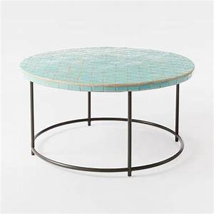 blue mosaic round coffee table With round mosaic coffee table