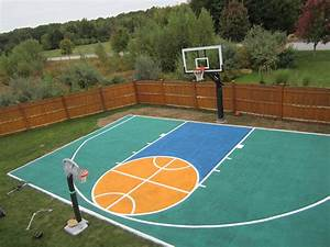 Backyard Basketball Court Dimensions Half Court