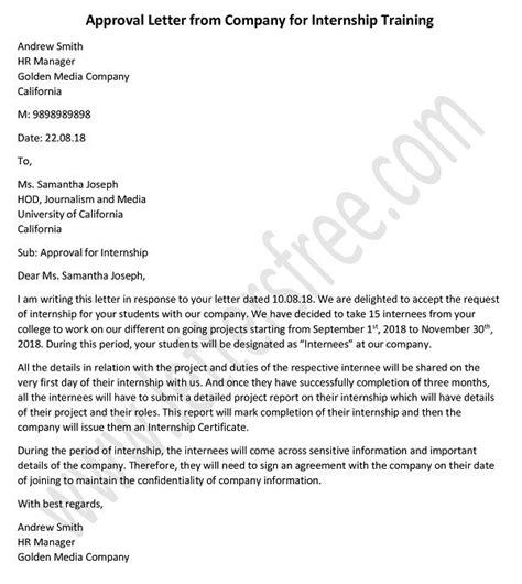 approval letter  company  internship  training