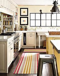 striped kitchen runner cottage kitchen With what kind of paint to use on kitchen cabinets for vintage framed wall art