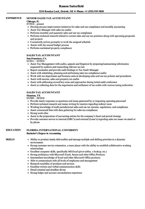 Tax Accountant Resume by Sales Tax Accountant Resume Sles Velvet